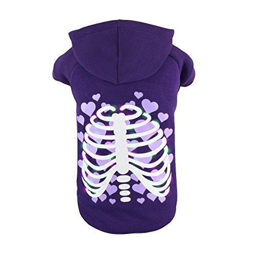 Royal Wise Pet Dog LED Light up Heart Skull Hoodie Sweater Coat T Shirt Clothes (S)