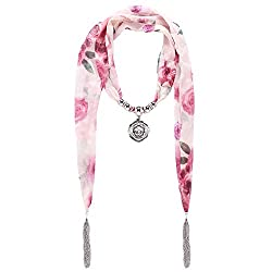 D EXCEED Women's Chiffon Floral Tassel Scarf Flower Pendant Jewelry Scarves (Pink Flower Pedant)