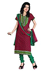 FadAttire Chanderi Salwar Kameez Dress Material-Red-FASE08