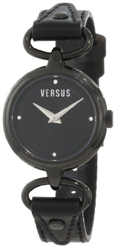 Versus by Versace Women's 3C67600000 Versus V Black IP Black Dial with Crystals Genuine Leather Watch