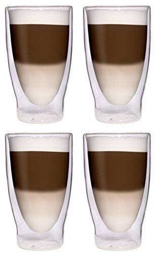 AKTION: 4x 370ml XXL doppelwandige Cocktailgläser / Longdrinkgläser / Eistee-Gläser / Saft- und Wassergläser - 4x 370ml edle extra große Thermogläser mit Schwebeeffekt von Feelino