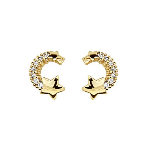 14K Yellow Gold Plated Star CZ Stud Earrings with Screw-back for Children & Women