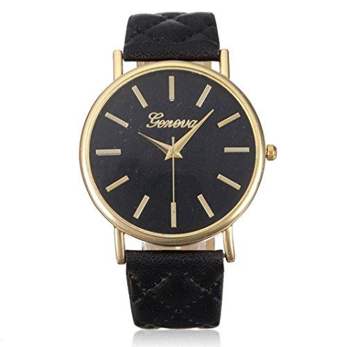 Franterd® Damen-Armbanduhr Elegant Uhr Modisch Zeitloses Design Klassisch Leder Römische Ziffern-Leder-analoge Quarzuhr Armbanduhr Schwarz