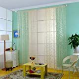 Banggood Voile Curtain Panel Door Window Screen Room Divider Decor 100*200cm Beige