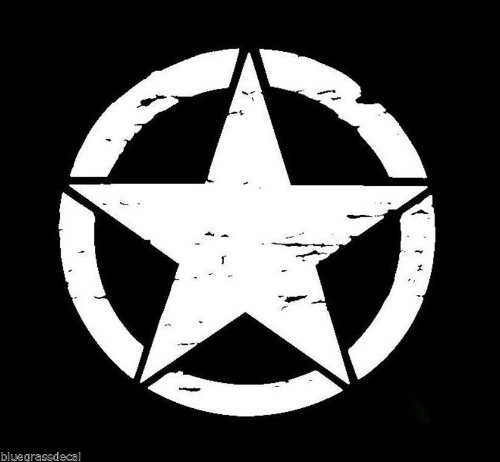 Jeep 4X4 Distressed Star MILITARY ARMED VINYL SUV Decal Sticker LAPTOP BOAT SALT