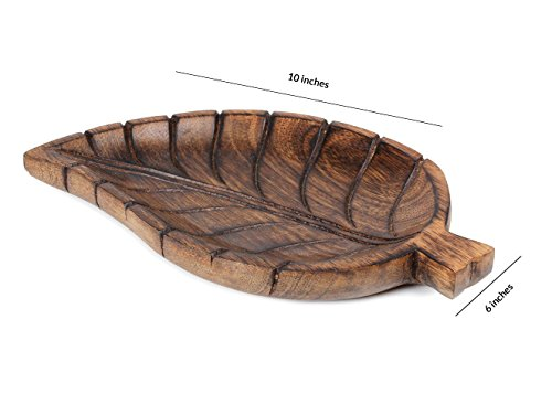Store Indya Wooden Serving Tray Platter with Leaf Design Handmade Serveware Kitchen Accessories