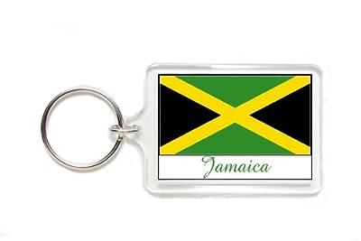 Souvenir Jamaica Jamaican Flag Double Sided Acrylic Key Ring Large Keyring Keychain