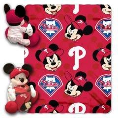 "Philadelphia Phillies Mlb Disney Mickey 40""X50"" Fleece Infant Baby Blanket Throw W/ 14"" Plush Hugger ~Cecietcela front-833939"