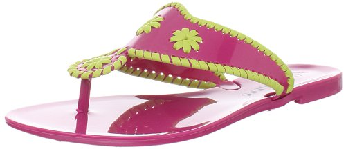 Jack Rogers Women's Bahamas Navajo Jelly Thong Sandal,Raspberry/Citron,10 M US