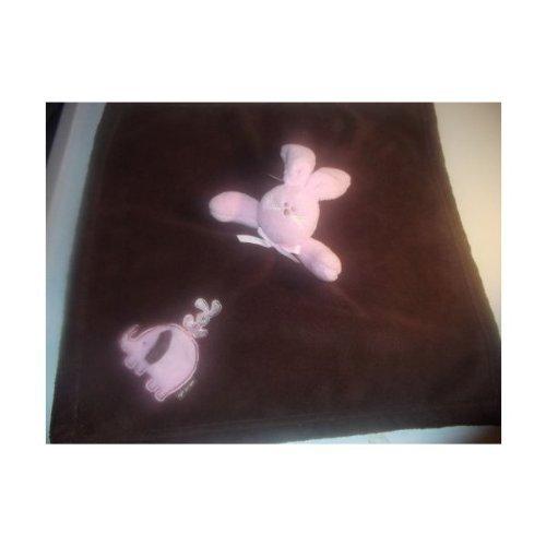 Baby Baby Blankets & Beyond Nunu Chocolate Brown & Pink Bunny Lovey Security Blanket New