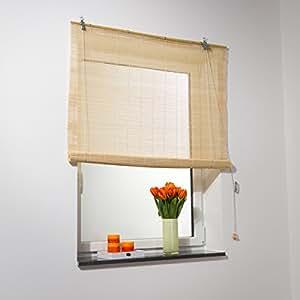 bambus rollo natur bambus jalousie raffrollo ventanara 130x160 cm breite x h he. Black Bedroom Furniture Sets. Home Design Ideas
