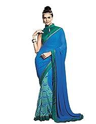 Status Blue Color Printed Saree