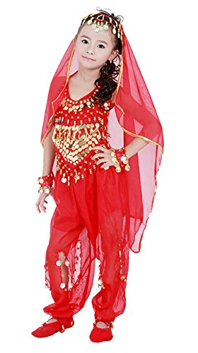 AvaCostume 5-Piece Sets Girl's Belly Dance Costumes Kids Dancewear