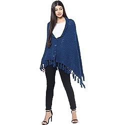Cayman Cobalt-blue Solid Woollen Poncho