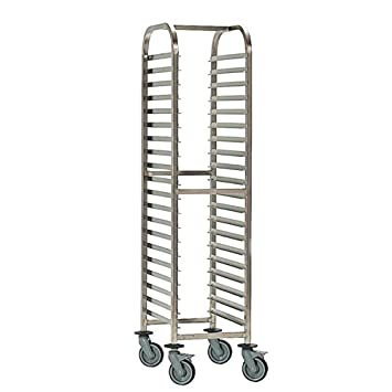 Bourgeat Stainless steel Full Gastronorm Racking Trolley 1700(H)x460(W)x630(D)mm Capacity: 20 trays/200kg Weight 19.5kg