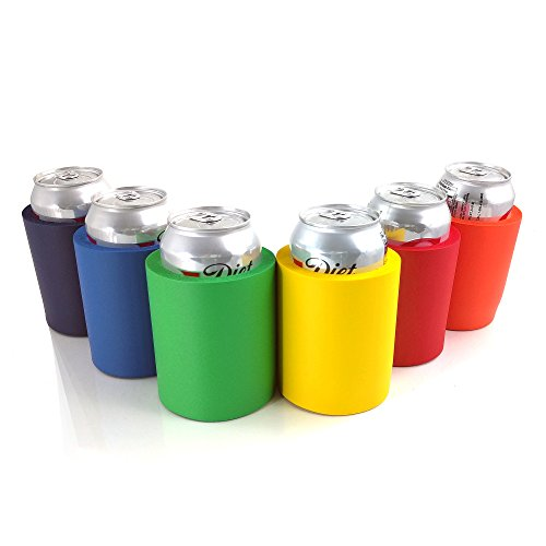 Beer Can and Bottle Insulators, Indestructible Foam Coolers, 6 Pack of Assorted Solid Colors, Blue, Red, Orange, Green, Yellow, Navy Blue