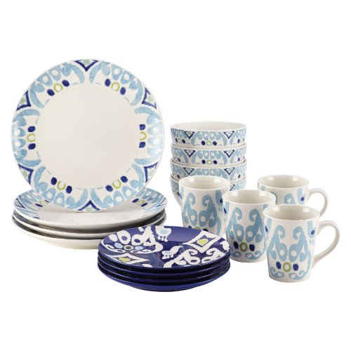 Rachael Ray Dinnerware Ikat Collection 16-Piece Set, Blue