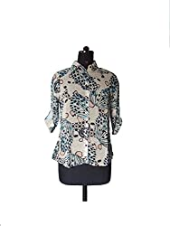 WOMEN OFF WHITE FLORAL SHIRT (Large)