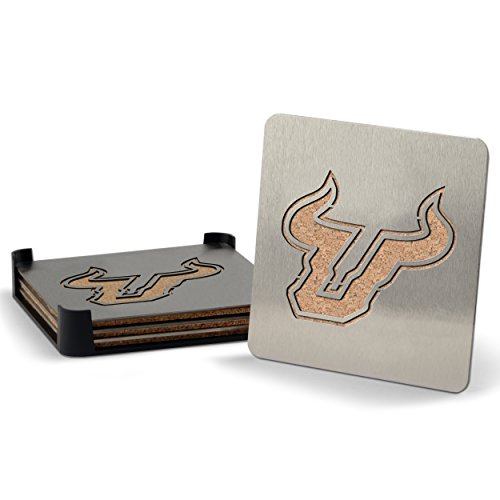NCAA South Florida Bulls Boasters, Heavy Duty Stainless Steel Coasters, Set of 4 (4 Inch Bull Bar compare prices)