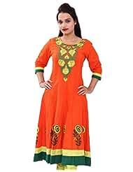 Chhipa Women Hand Block Printed Orange Anarkali