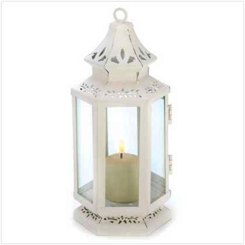 Decor Iron Amber Glass Candleholder Lantern Light