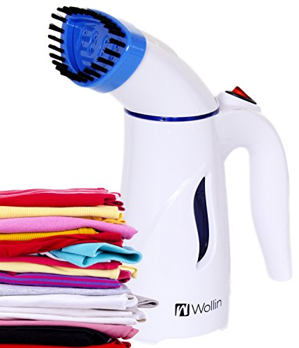 Clothes Steamer - Handheld And Portable Fabric And Garment Steamer - Perfect For Home And Travel Use, Curtains, Couches & Carpets - With Free Brush Nozzle - Fast, Powerful Heat Up- Lightweight - Blue (Powerful Steam Brush compare prices)