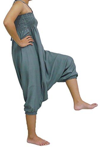 Loongcha's Women Harem Pants 2 in 1 Wearing Smocked Waist Yoga Aladdin (J Grey)