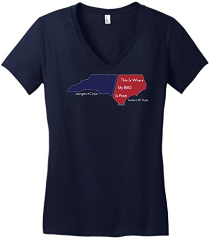 This Is Where My Bbq Is From Eastern Style Juniors V-Neck Large New Navy