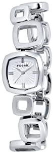 Fossil Women's ES1869 Core Square Link Stainless Steel Silver Dial Watch