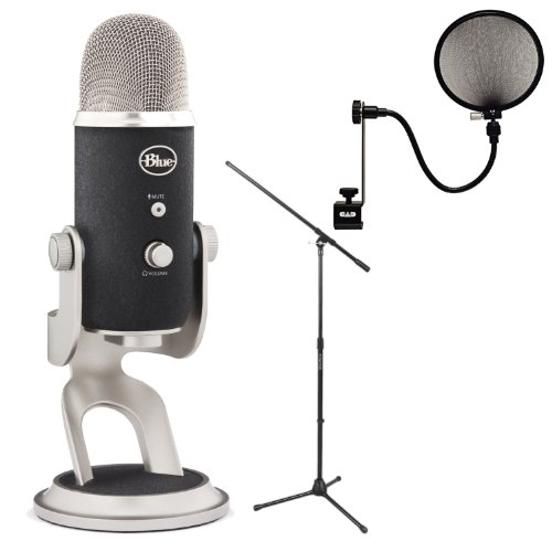Blue Microphones Yeti Pro Multipattern Condenser Microphone With Tripod Boom Microphone Stand And Microphone Pop Filter
