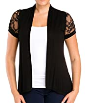 eVogues Plus Size Laced Black Open Front Cardigan - 3X