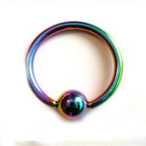 2 - 14 Gauge 3/8 Inch 4Mm Rainbow Titanium Anodized Captive Eyebrow Lip Nose Ring C47