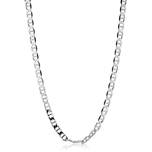"2Mm .925 Italian Sterling Silver ""Marina Links"" Chain Necklaces & Bracelets Beveled Round Flat Edges Nickel Free, Sizes 9 - 30 Inch, - Ice Empire Jewelry (18 Inches)"