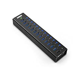 Anker® USB 3.0 Aluminum 13-Port Hub + 5V 2.1A Smart Charging Port with 12V 5A Power Adapter [VIA VL812-B2 Chipset]