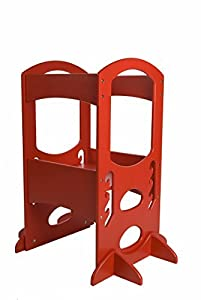 learning tower kids adjustable height kitchen step stool with safety rail red. Black Bedroom Furniture Sets. Home Design Ideas