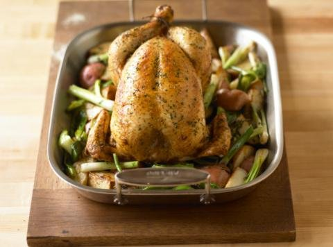 Oven Roast Chicken Wall Decal - 24 Inches W X 18 Inches H - Peel And Stick Removable Graphic