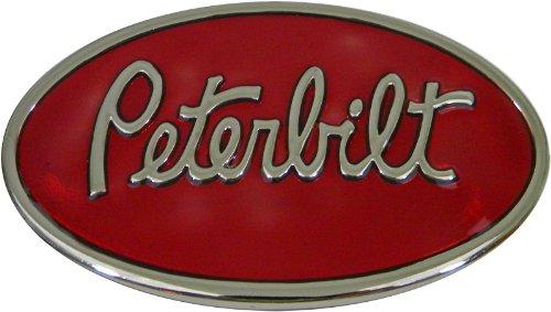 Peterbilt Chrome Finish Oval Belt Buckle with Red Enamel Background