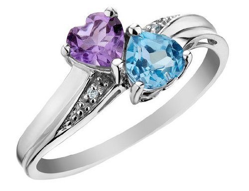 Blue Topaz and Amethyst Double Heart Ring with Diamonds 4/5 Carat (ctw) in 10K White Gold, Size 7.5