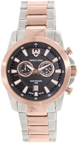 Swiss Eagle SE-9055-55 - Reloj para hombres, correa de acero inoxidable