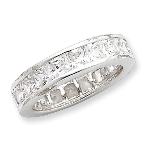 Sterling Silver CZ Eternity Band Ring Size 6 Real Goldia Designer Perfect Jewelry Gift