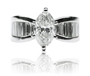 3.03 Ct Diamond 1.50 Ct Center Diamond 5.7g 14k White Gold Engagement Ring