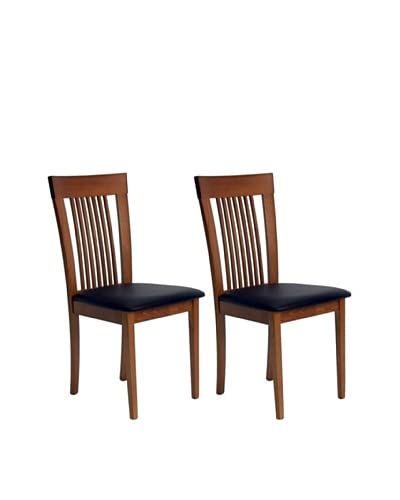 Aeon Set of 2 Hartford Solid Beechwood Dining Chairs, Cherry