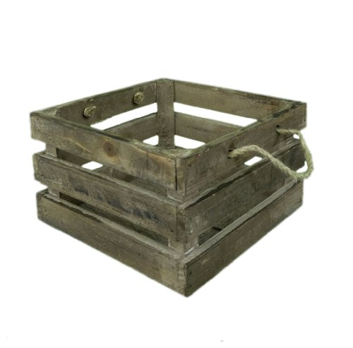 Vintage Brown Wooden Condiment Holder Serving Crate Kitchen Box with Rope Handle (slight seconds)