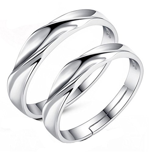 omos-rings-with-opening-1-pair-925-sterling-silver-band-black-convex-surface-adjustable-wedding-band