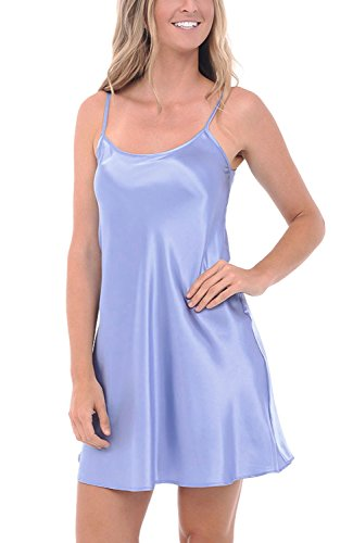 Del Rossa Women's Satin Nightgown, Long Camisole Chemise, Medium Serenity (A0766SERMD)