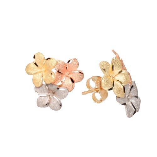 Duragold 14k Tri-Color Hawaiian Flower Stud Earrings