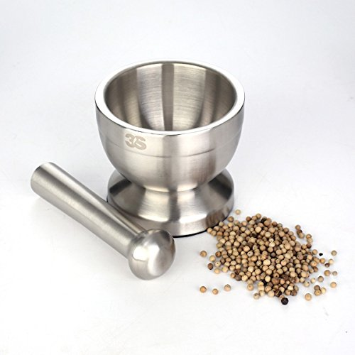 3s stainless steel spice grinder mortar and pestle set new ebay. Black Bedroom Furniture Sets. Home Design Ideas