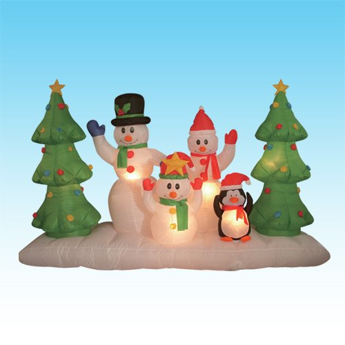 8 Foot Long Inflatable Snowmen Family w/ Pet