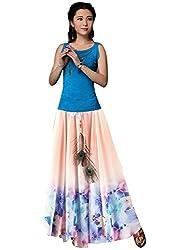 Isha Enterprise Women's Peach Georgette Party Wear Skirt