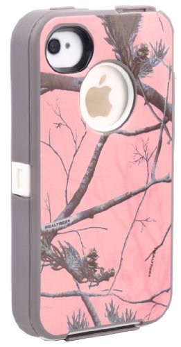 Huaxia Datacom ® Heavy Duty Defender Hybrid Hard Case Tough Tree Camo Shockproof Dirtproof Defender Protector TPU Skin Case Cover for iPhone 4 4S - Camouflage on white/Pink (Camo Iphone 4 Covers compare prices)